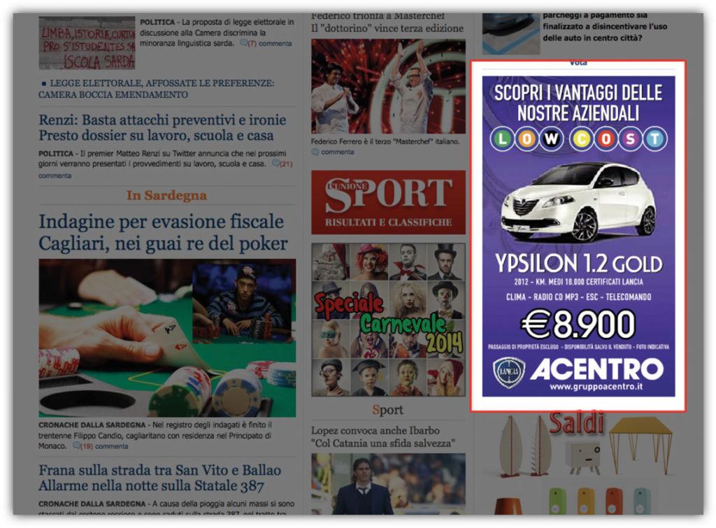 Spazi pubblicitari L'Unione Sarda.it - Sky banner
