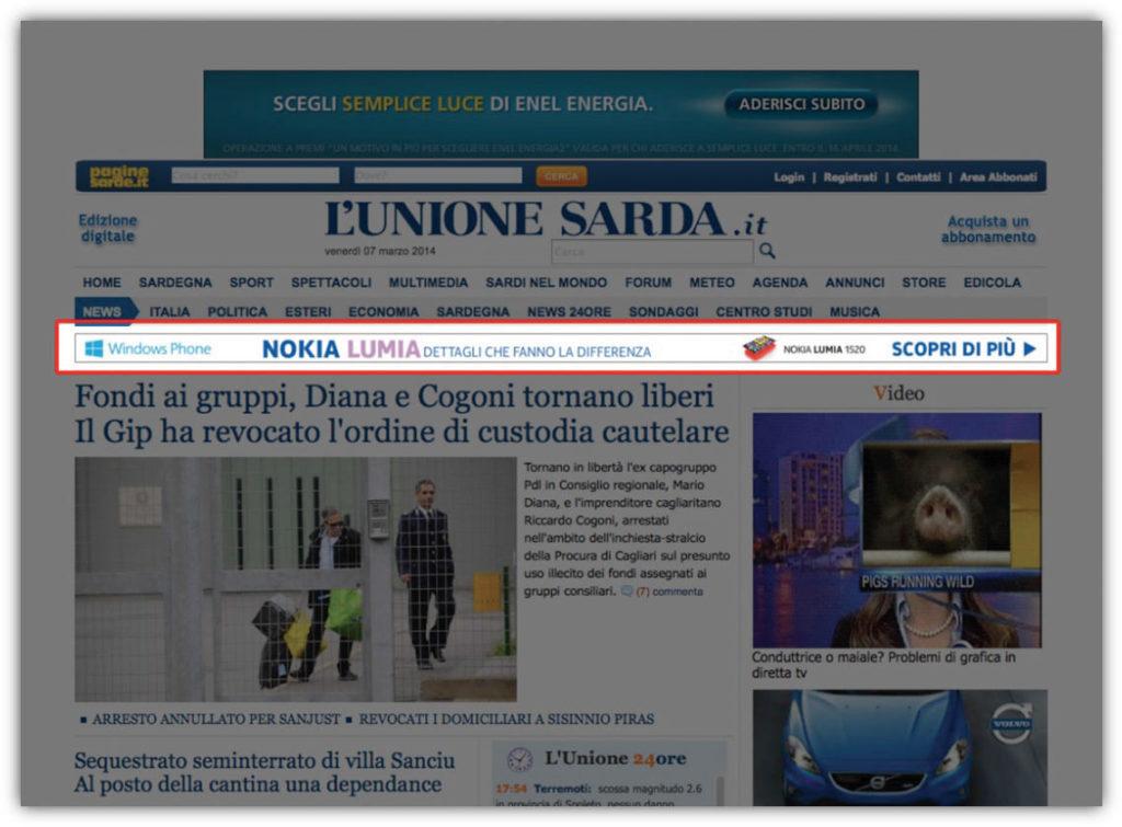 Banner su L'Unione Sarda.it - Strip