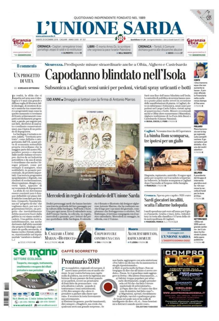 L'Unione Sarda - prima pagina