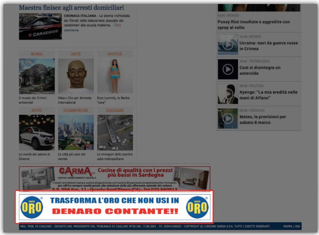 Spazi pubblicitari L'Unione Sarda.it - Leaderboard down