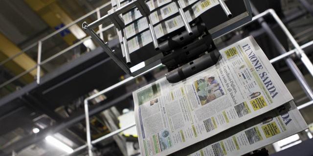 Immagine del Centro Stampa, impianto che produce il primo quotidiano della Sardegna